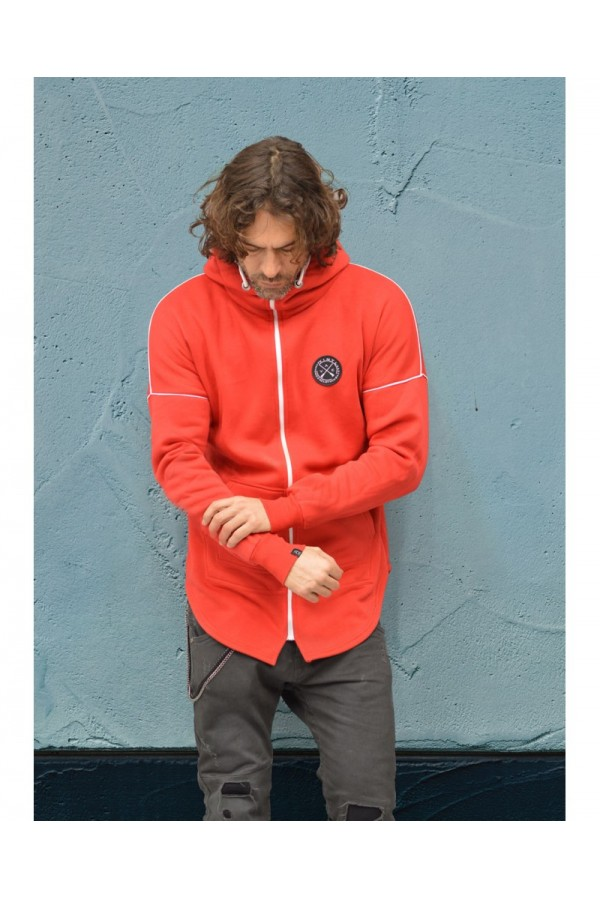 HOODIE WITH FULL ZIP RED