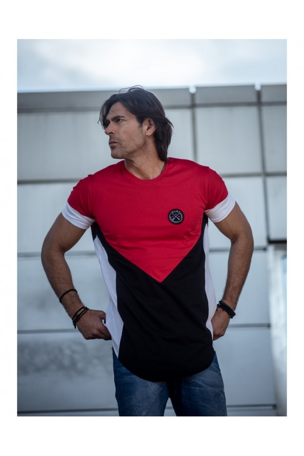 Asymmetric core tee t-shirt red