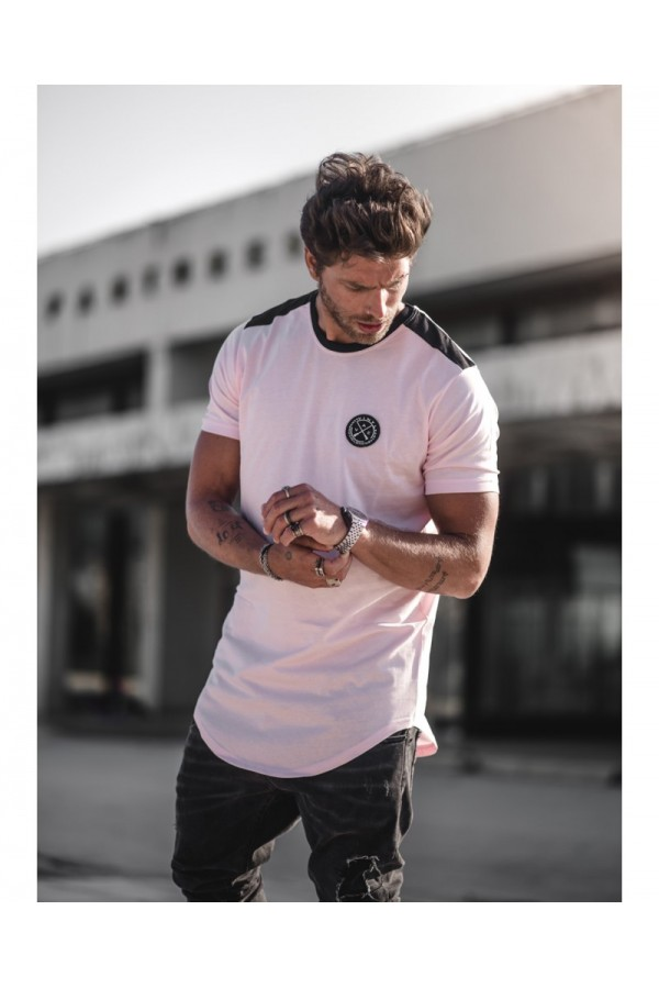 Contrast core tee stripe t-shirt pink